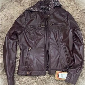 Brand new JOUJOU burgundy vegan leather jacket.